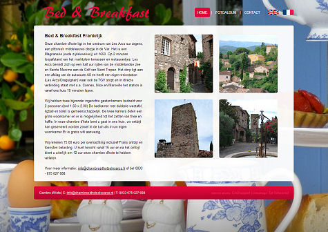 Voorbeeld website Bed and Breakfast