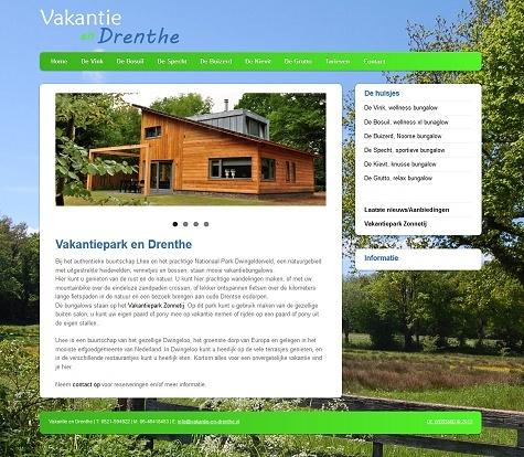 Voorbeeld website Vakantiehuizen